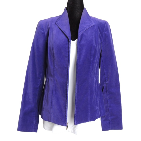 Jones New York Jackets & Blazers - JONES NEW YORK Regal Purple Velvet Zip Up Blazer M